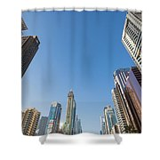Skyscrapers Along Sheikh Zayed Road Shower Curtain