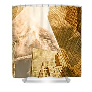 Skyscrapers Reflection  Shower Curtain