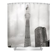 Skytower Tokyo In Black White Shower Curtain