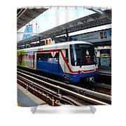 Skytrain Carriage Metro Railway At Nana Station Bangkok Thailand Shower Curtain