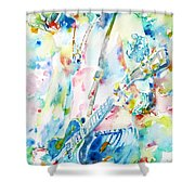 Slash Playing Live - Watercolor Portrait Shower Curtain