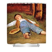 Sleeping Boy In The Hay Shower Curtain