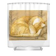 Sleeping Orange Tabby Cat Cathy Peek Animals Shower Curtain