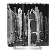 Sleeping Surfboards Shower Curtain