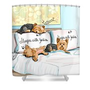 Sleeps With Yorkies Shower Curtain