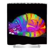 Sleepy Colorful Cat Shower Curtain