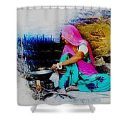 Slice Of Life Mud Oven Chulha Tandoor Indian Village Rajasthani 2 Shower Curtain