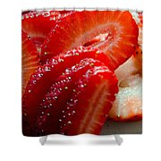 Sliced Strawberries Shower Curtain