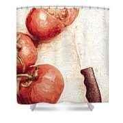 Sliced Tomatoes. Vintage Cooking Artwork Shower Curtain