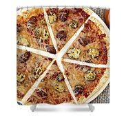 Sliced Tortilla Pizza Shower Curtain