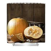 Slicing Pumpkins Shower Curtain