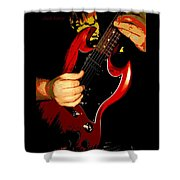Red Gibson Guitar Shower Curtain