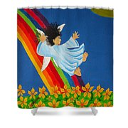 Sliding Down Rainbow Shower Curtain