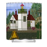 Slip Point Lighthouse Vintage Shower Curtain