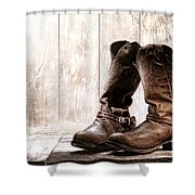 Slouch Cowboy Boots Shower Curtain
