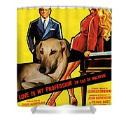 Sloughi Art - Love Is My Profession Movie Poster Shower Curtain