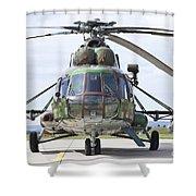 Slovakian Mi-17 With Digital Camouflage Shower Curtain