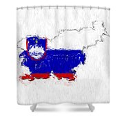 Slovenia Painted Flag Map Shower Curtain