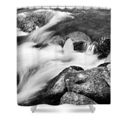 Slow Flow Black And White Shower Curtain