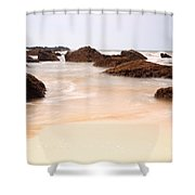 Slow Shutter Sea Around Rocks Shower Curtain