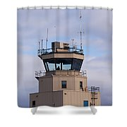 Small Air Traffic Control Tower Man Behind Glass Shower Curtain