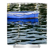 Small Blue Boat Shower Curtain