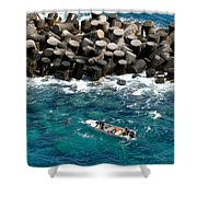 Small Boat Off Nassau Shore Shower Curtain