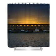 Small Boat Waiting In The Harbor Of Oostende Shower Curtain