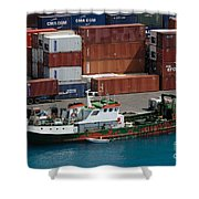 Small Boat With Cargo Containers Shower Curtain