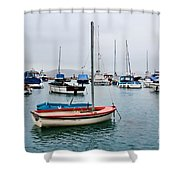 Small Boats At Lyme Regis Harbour Shower Curtain