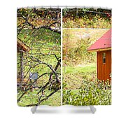 Small Cabin In Stereo Shower Curtain