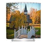 Small Chapel Across The Bridge In Fall Shower Curtain
