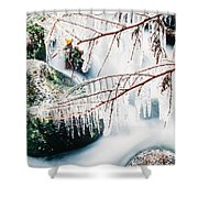 Small Creek Freezing Up Forming Icicles Shower Curtain