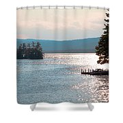 Small Dock On Lake George Shower Curtain