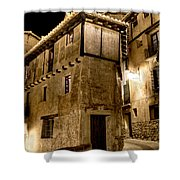 Small House In Albarracin At Night Shower Curtain