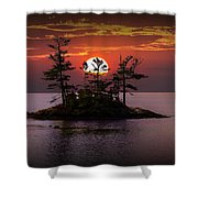 Small Island At Sunset Shower Curtain