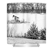 Small Oil Pump Jack Shower Curtain
