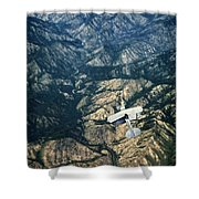 Small Plane Flying Over Mountains Shower Curtain