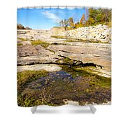 Small Pond Devonian Fossil Gorge Shower Curtain