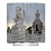 Small Praying Angel And Chapel Shower Curtain