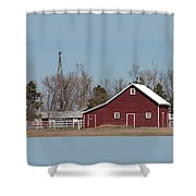 Small Red Barn With Windmill Shower Curtain