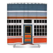 Small Store Front Entrance Colorful Wooden House Shower Curtain