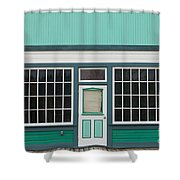 Small Store Front Entrance To Green Wooden House Shower Curtain