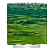 Small Town In The Lush Green Hills Shower Curtain