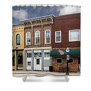 Small Town Main Street Shops Shower Curtain
