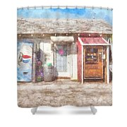 Small Town Pit Stop  Shower Curtain