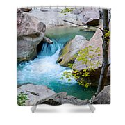 Small Virgin River Waterfall In Zion Canyon Narrows In Zion Np-ut Shower Curtain
