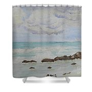 Small Waves Breaking Near Rocks Shower Curtain