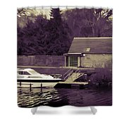 Small White Yacht In The Water Of The Caledonian Canal Shower Curtain