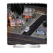 Small World - A Smalltown Holiday Shower Curtain